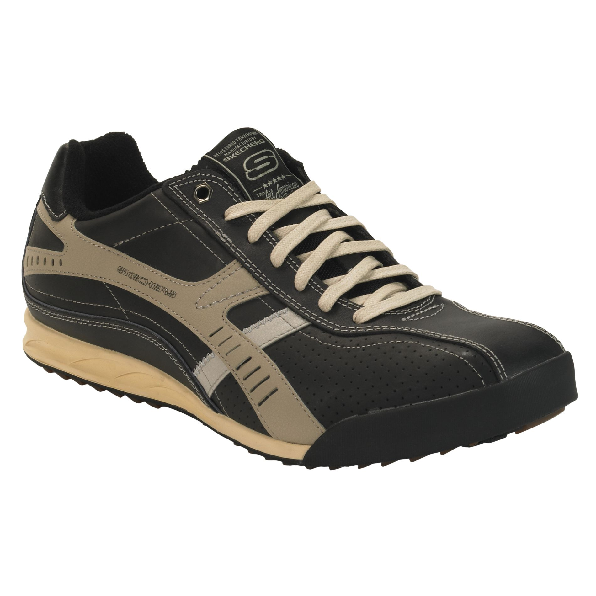 Skechers  Men's Piceno Casual Athletic Shoe - Black/Tan