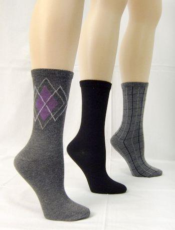 Basic Editions Women's Crew Socks Three Pairs Assorted Black/Gray at Kmart.com