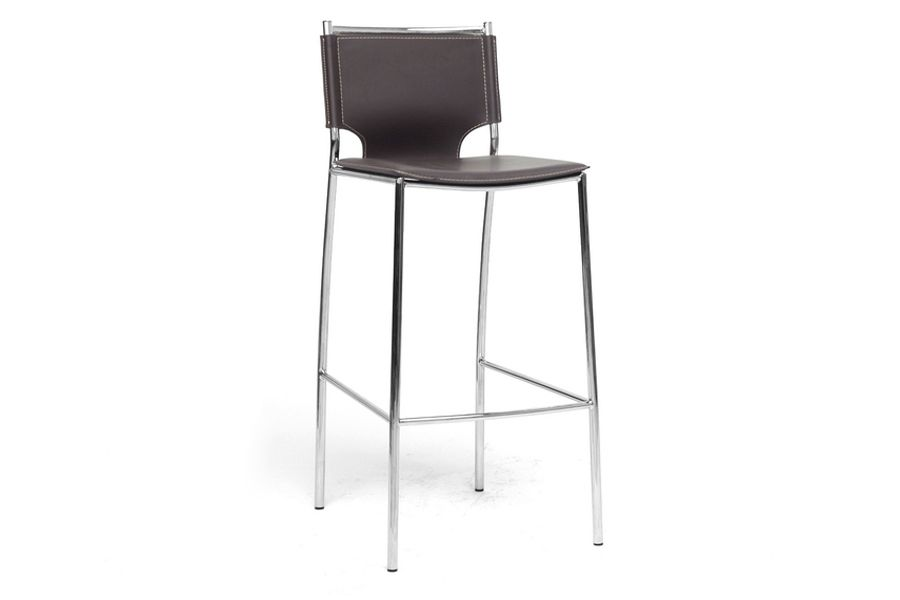 Montclare Brown Leather Modern Bar Stool (Set