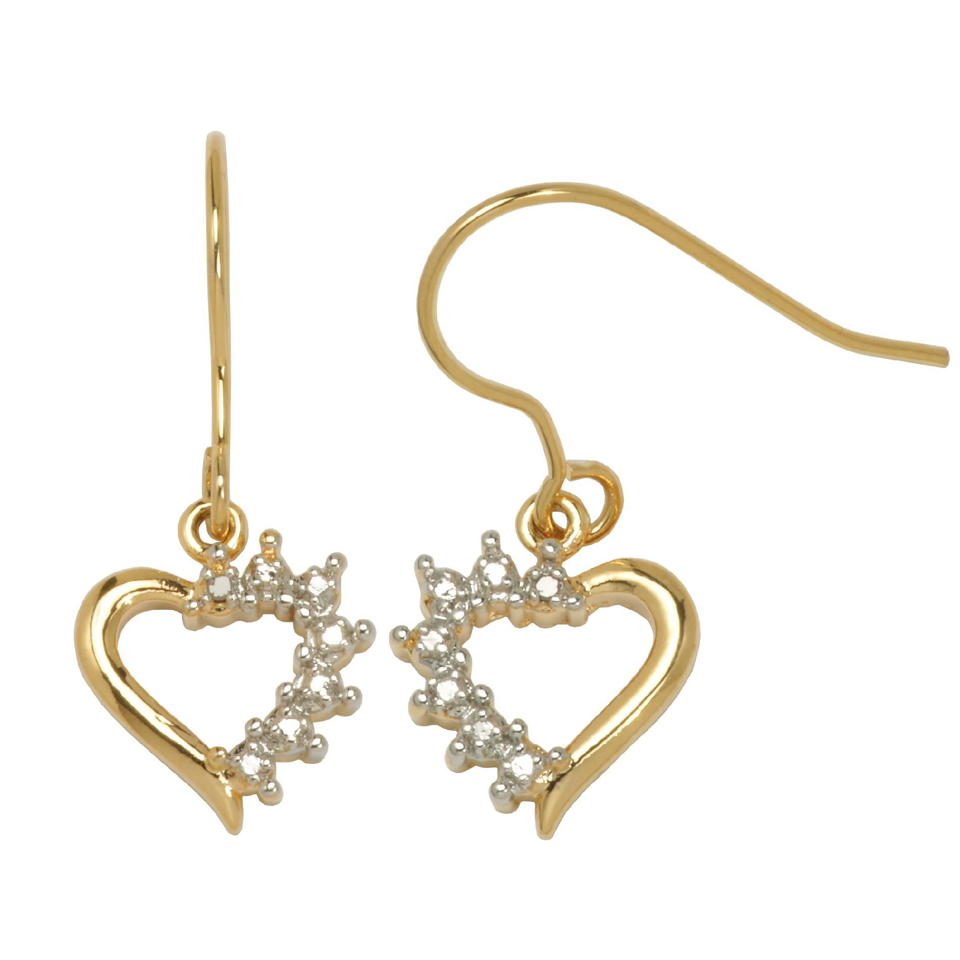 18K Gold Over Brass Diamond Accent Heart Dangle Earrings                                                                         at mygofer.com