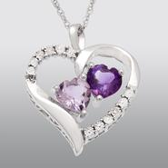 Sterling Silver Amethyst BI Color Heart Pendant at Kmart.com