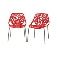 Baxton Birch Sapling Red Plastic Modern Dining Chair (Set of 2) at Kmart.com