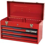 "Craftsman 21"" 3-Drawer Ball Bearing Slides Portable Toolbox Red at Sears.com"