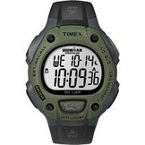 Timex Men's Timex Ironman Calendar Day/Date Chronograph Watch w/Green Case, Digital Dial and Black Resin Band at mygofer.com