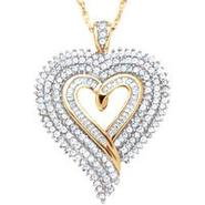 14k Gold Over Sterling Silver 1 ct. t.w. Diamond Heart Pendant at Sears.com