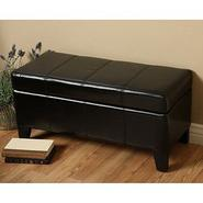 Warehouse of Tiffany Ariel Black Leather Storage Bench at Sears.com