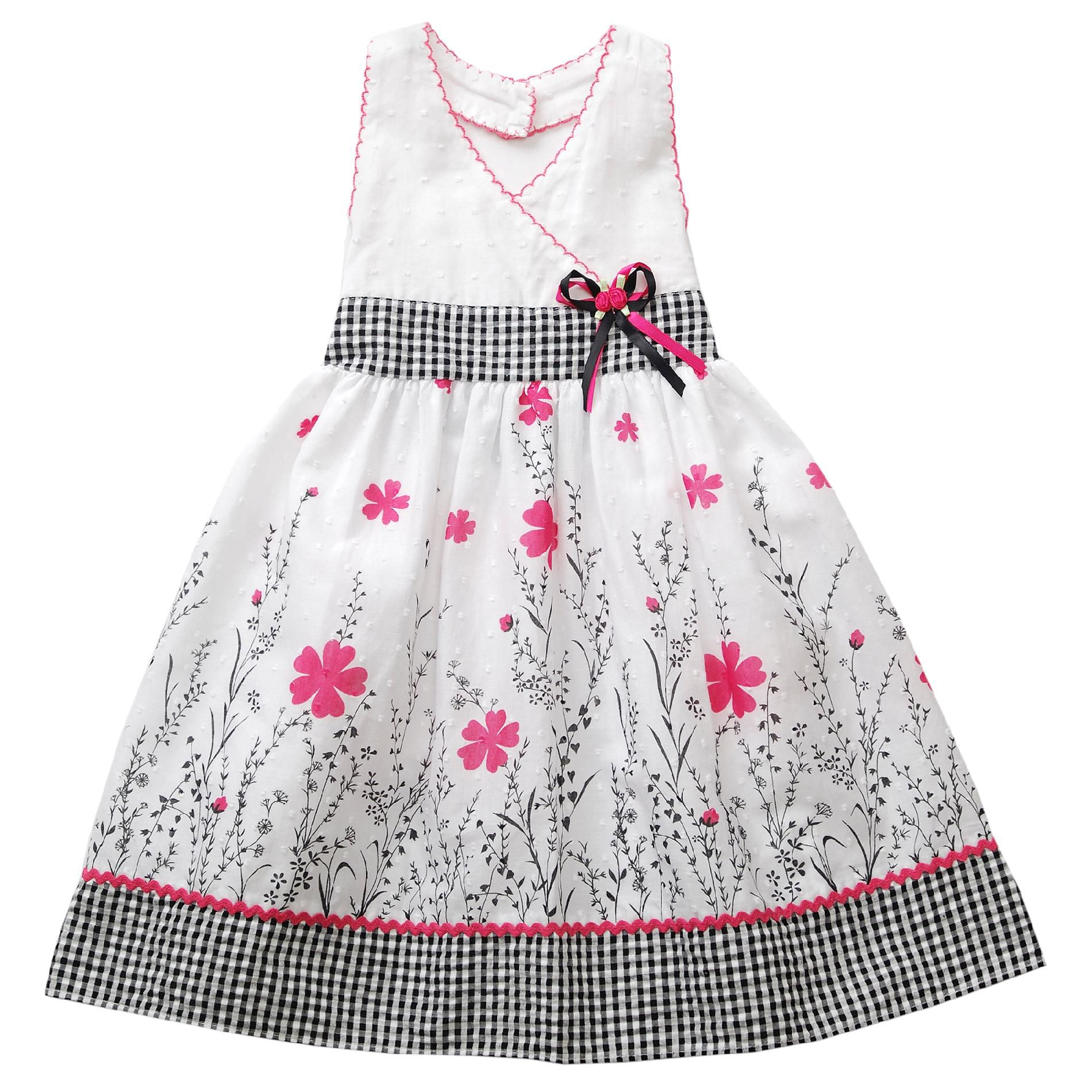 Youngland Girl s Toddler Dress Border Clip Halter White Dot