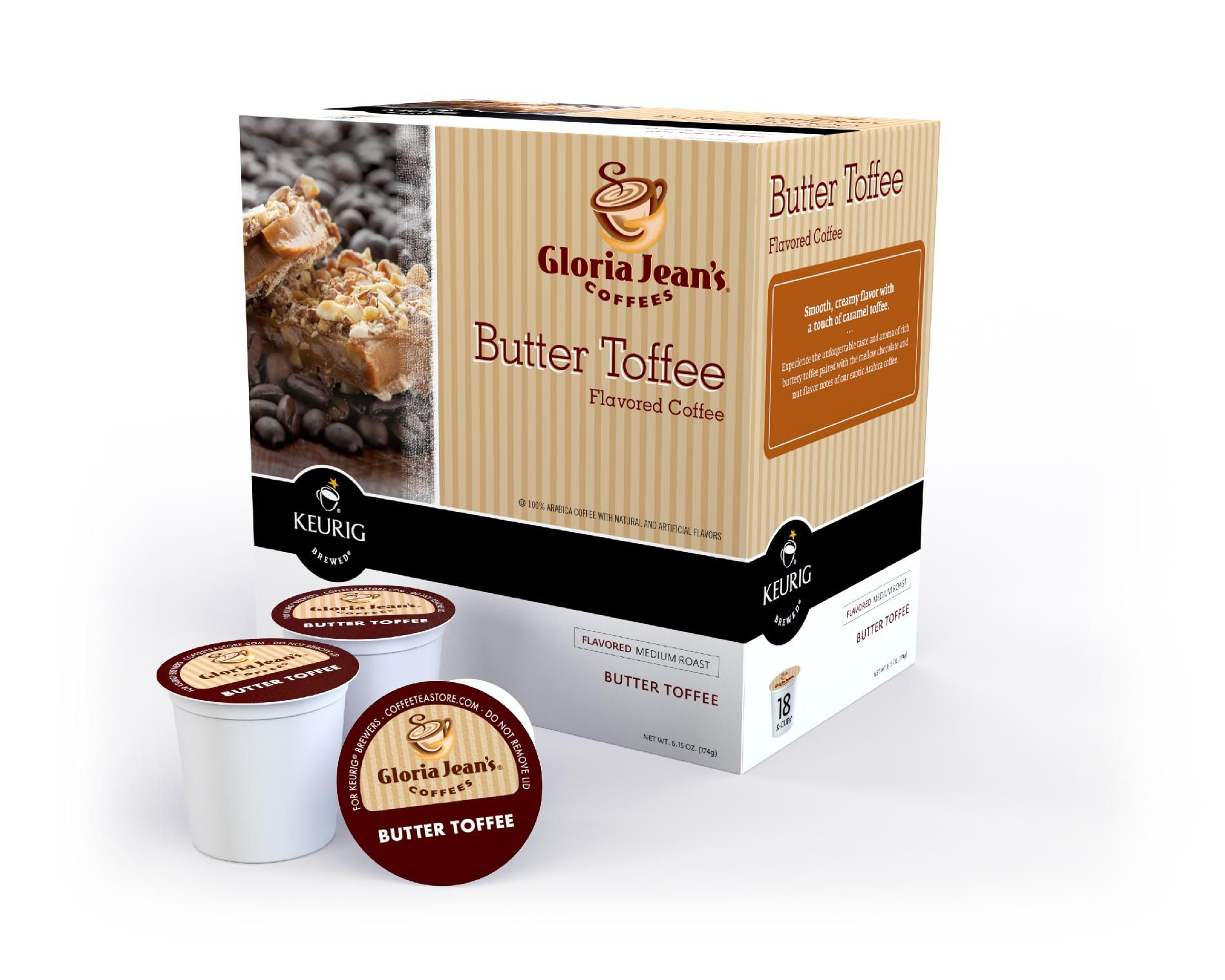 Keurig Gloria Jean's Butter Toffee Coffee 18 Count K-Cups