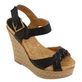 Qupid Women's Connect-14 Platform Wedge Sandal - Black at mygofer.com