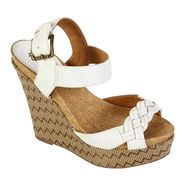 Qupid Women's Connect-14 Platform Wedge Sandal - White at Kmart.com