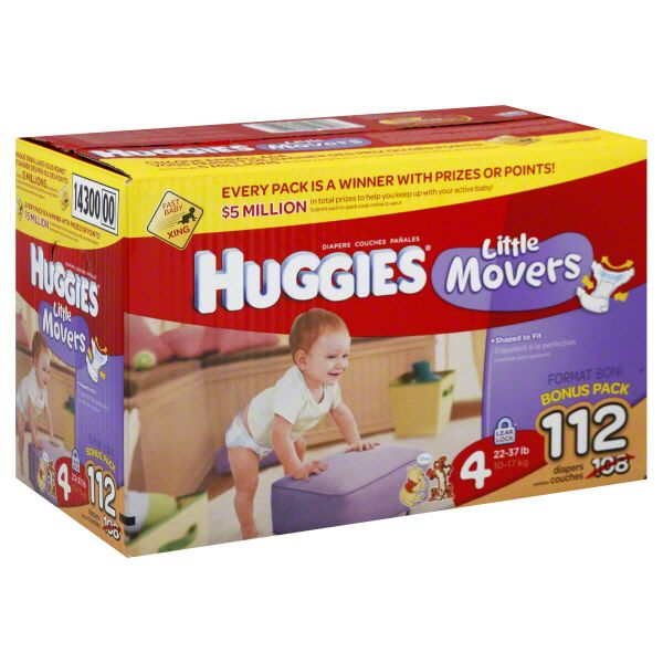 Little Movers Diapers, Size 4 (22-37 lb),