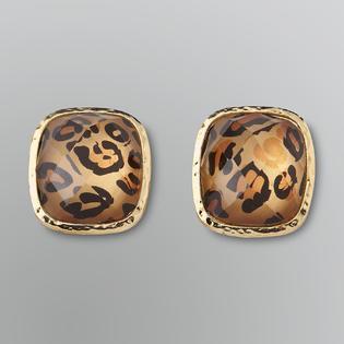 Jaclyn Smith Leopard Clip-On Button Earrings