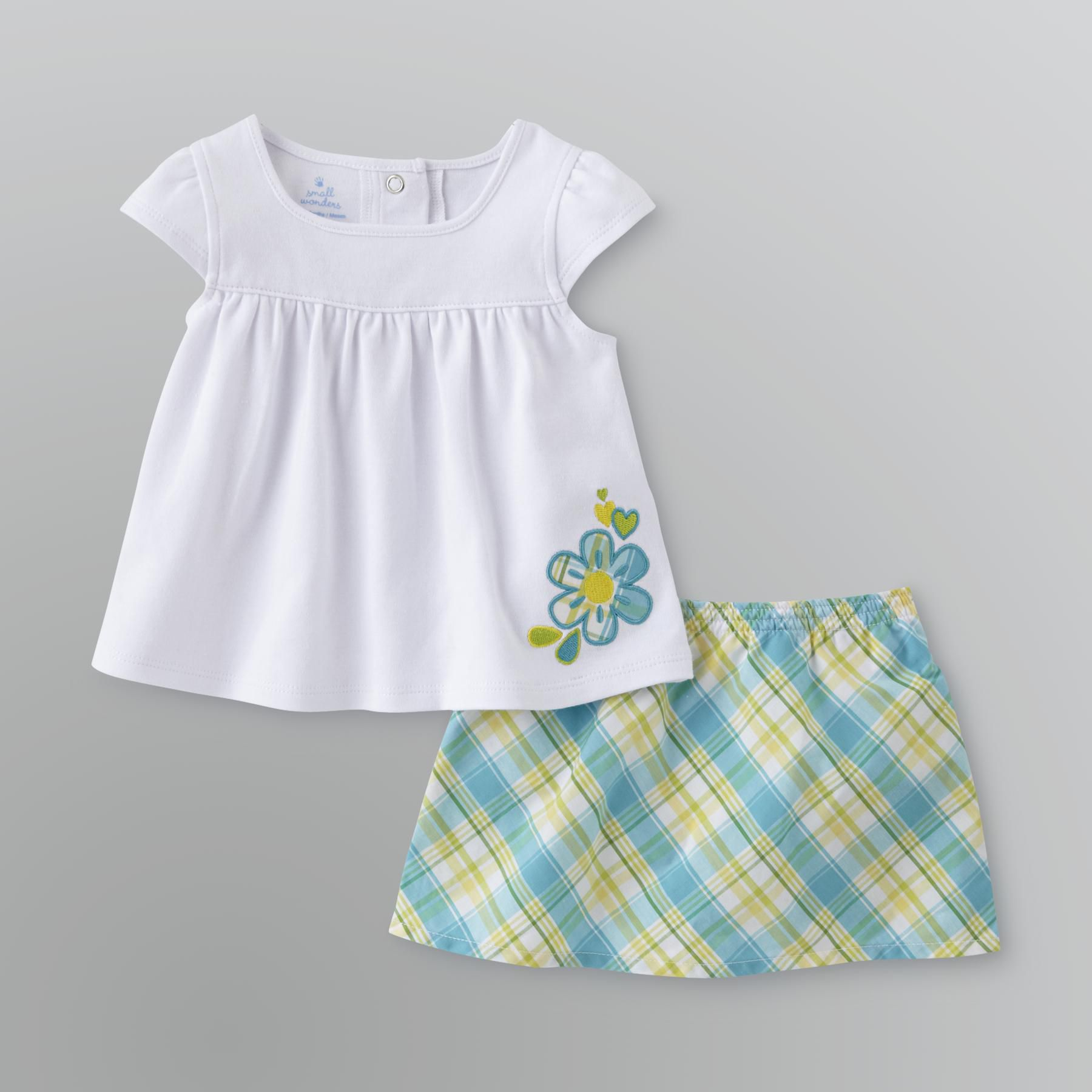Small Wonders Newborn Infant Girl s Gingham Skirt Set - Flower
