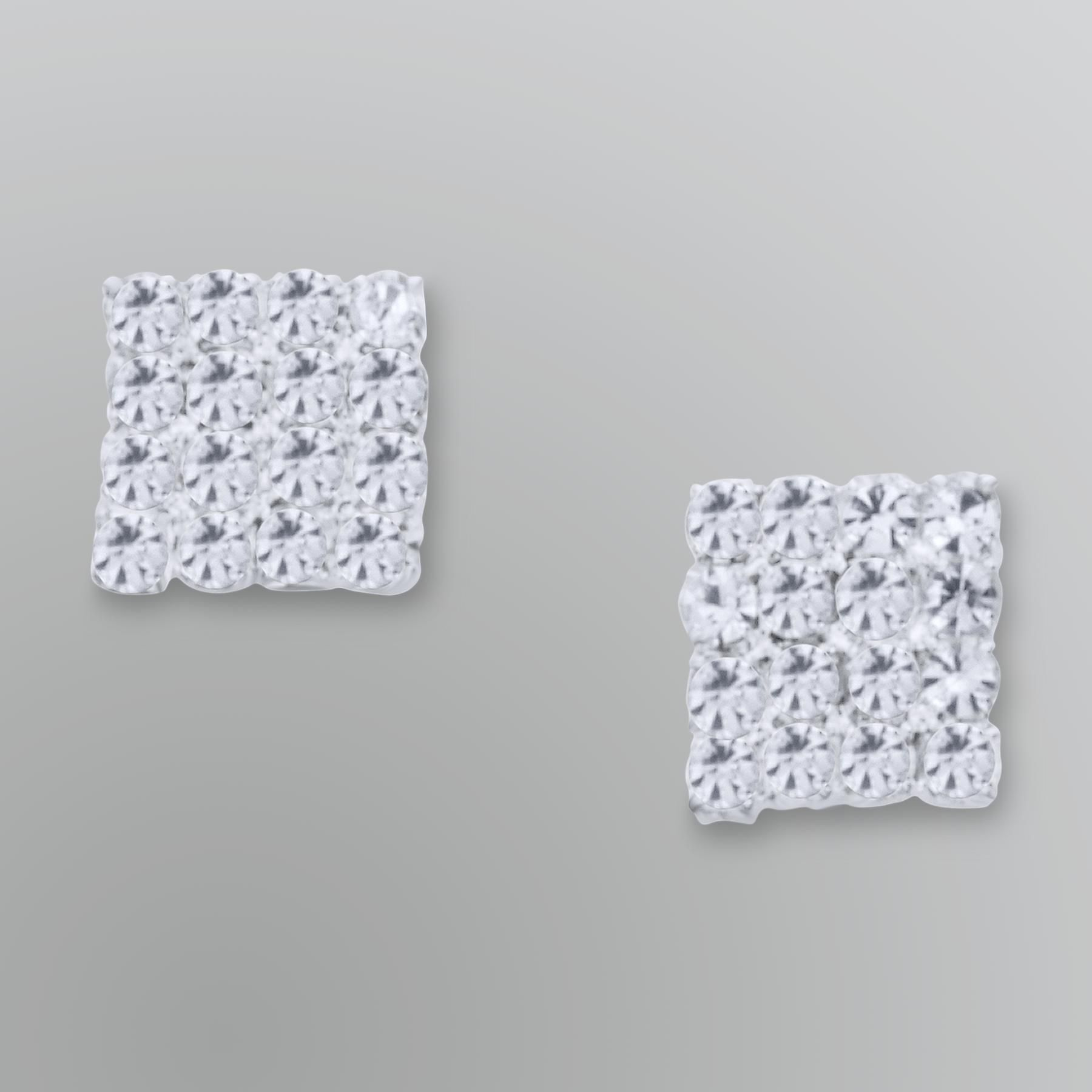 Jaclyn Smith Jeweled Square Stud Earrings