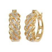 18K Gold Over Brass Diamond Accent Two Tone Hoop Earrings at Sears.com