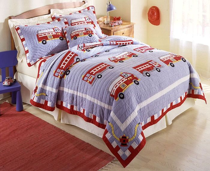 Cotton Fire Truck Twin Quilt with Sham                                                                                           at mygofer.com