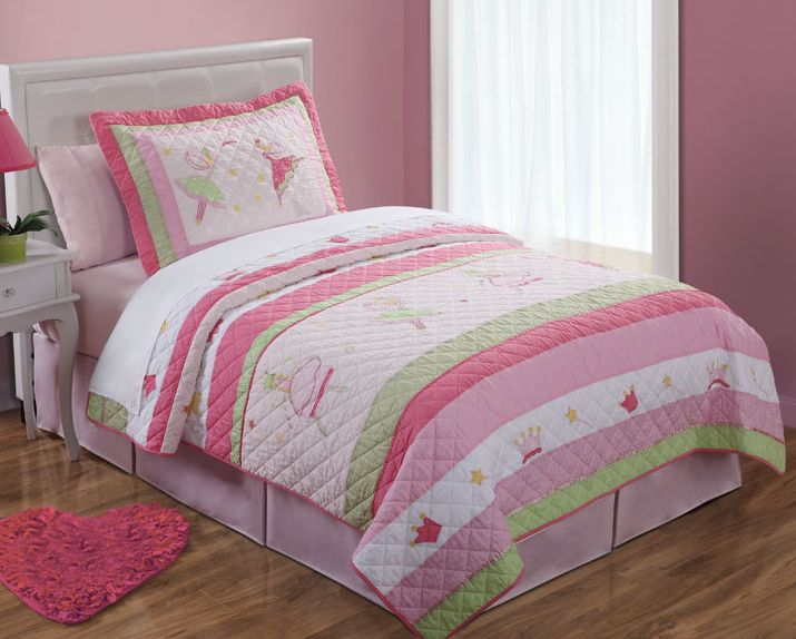 Fairy Ballerinas Twin Quilt with Pillow Sham