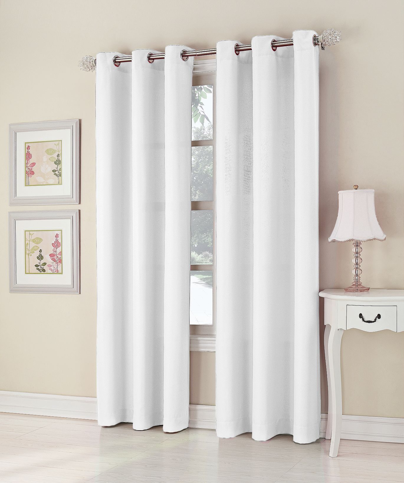 Essential Home  Mindy 48'' x 84'' White