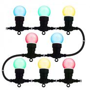 "Creative Motion 10 Light LED Party/ Patio Light Chain.  Multicolor LED bulbs. 2"" Diameter. 16.5 ft UL outdoor transformer at Kmart.com"