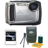 Fujifilm 16230243-3-KIT FinePix XP100 14MP Silver Rugged Digital Camera, Starter Kit and 8GB SDHC Card at Kmart.com