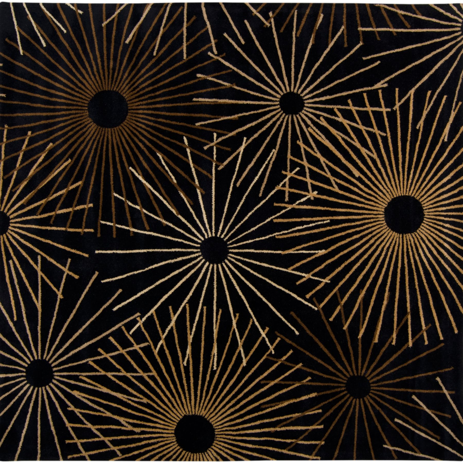 Surya Forum 4' x 4' Square Hand Tufted Wool Rug in Black PartNumber: 070V005050703000P