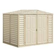 Duramax 8' x 6' vinyl fire retardant shed with a galvanized steel interior supporting structure at Kmart.com