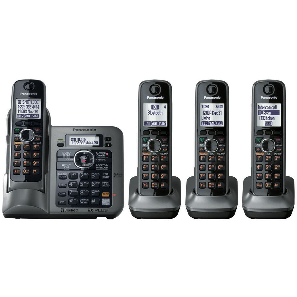 Panasonic KX-TG7644M Link-to-Cell Bluetooth Convergence Phone with 4 Handset