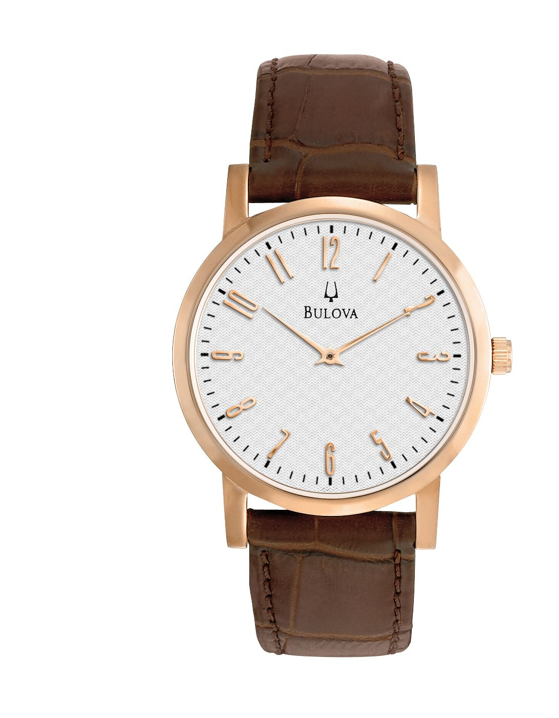 Bulova Men's Brown Leather Strap with Rose-Gold Tone ...