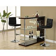 "Monarch Specialties Cappuccino Glossy / Chrome Metal 48""L Bar Table at Kmart.com"