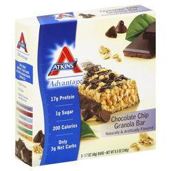 Atkins Advantage Granola Bar, Chocolate Chip, 5 - 1.7 oz (48 g) bars [8.5 oz (240 g)] at Kmart.com
