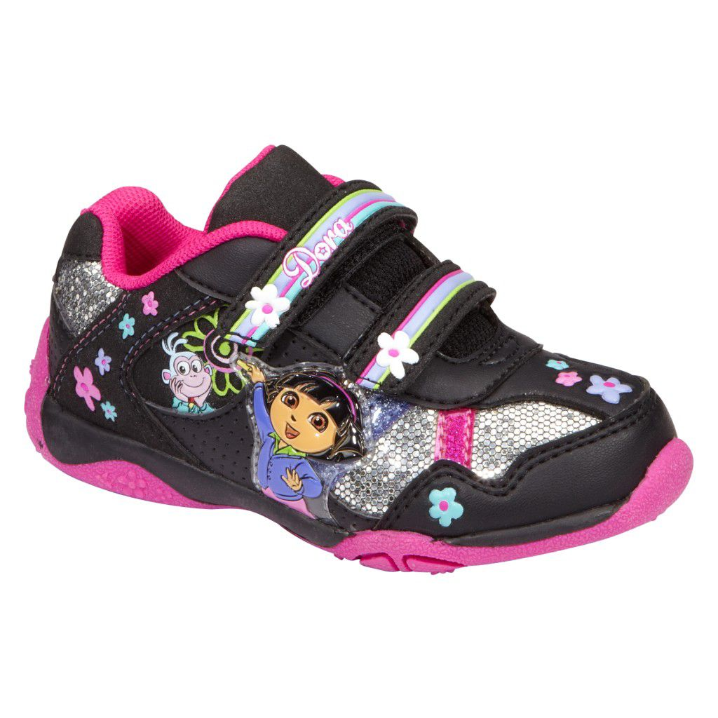 Toddler Girl's Dora Athletic Shoe - Black/Fuchsia