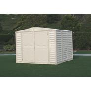 Duramax 8' x 8' vinyl fire retardant shed with a galvanized steel interior supporting structure at Kmart.com