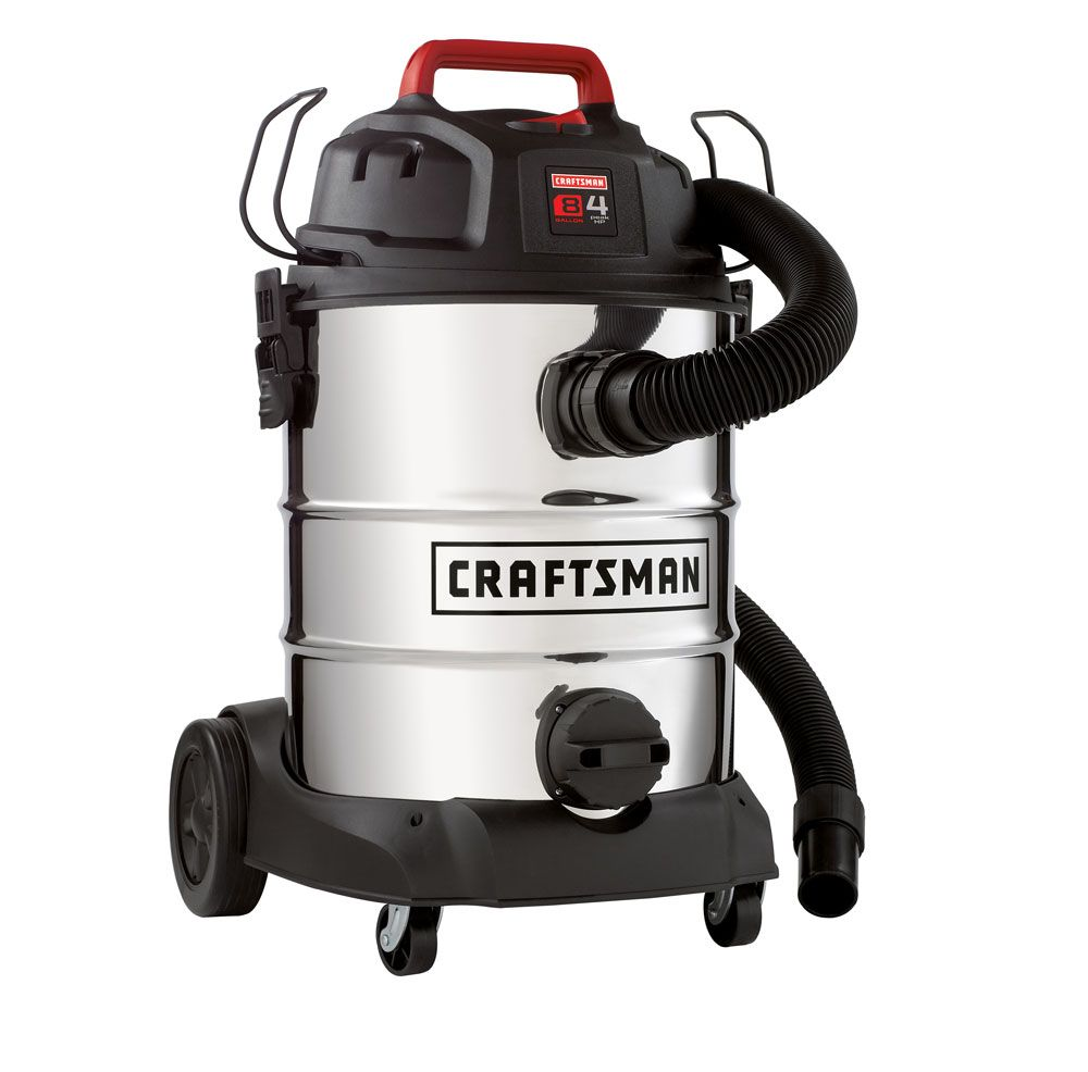 Craftsman  8 Gallon Stainless Steel Tank, 4 Peak HP Wet/Dry Vac