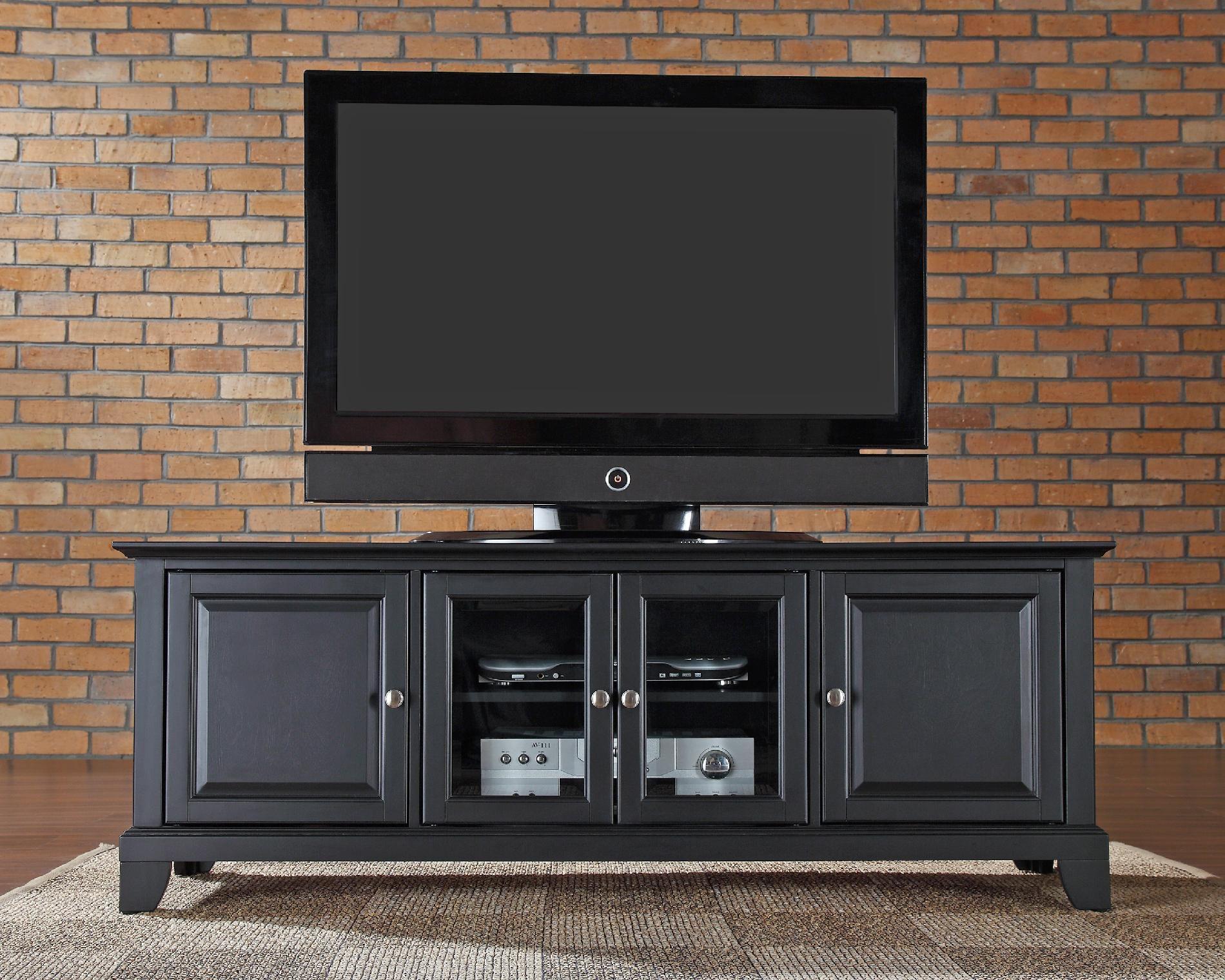 Crosley Furniture Newport 60in Low Profile TV Stand in Black