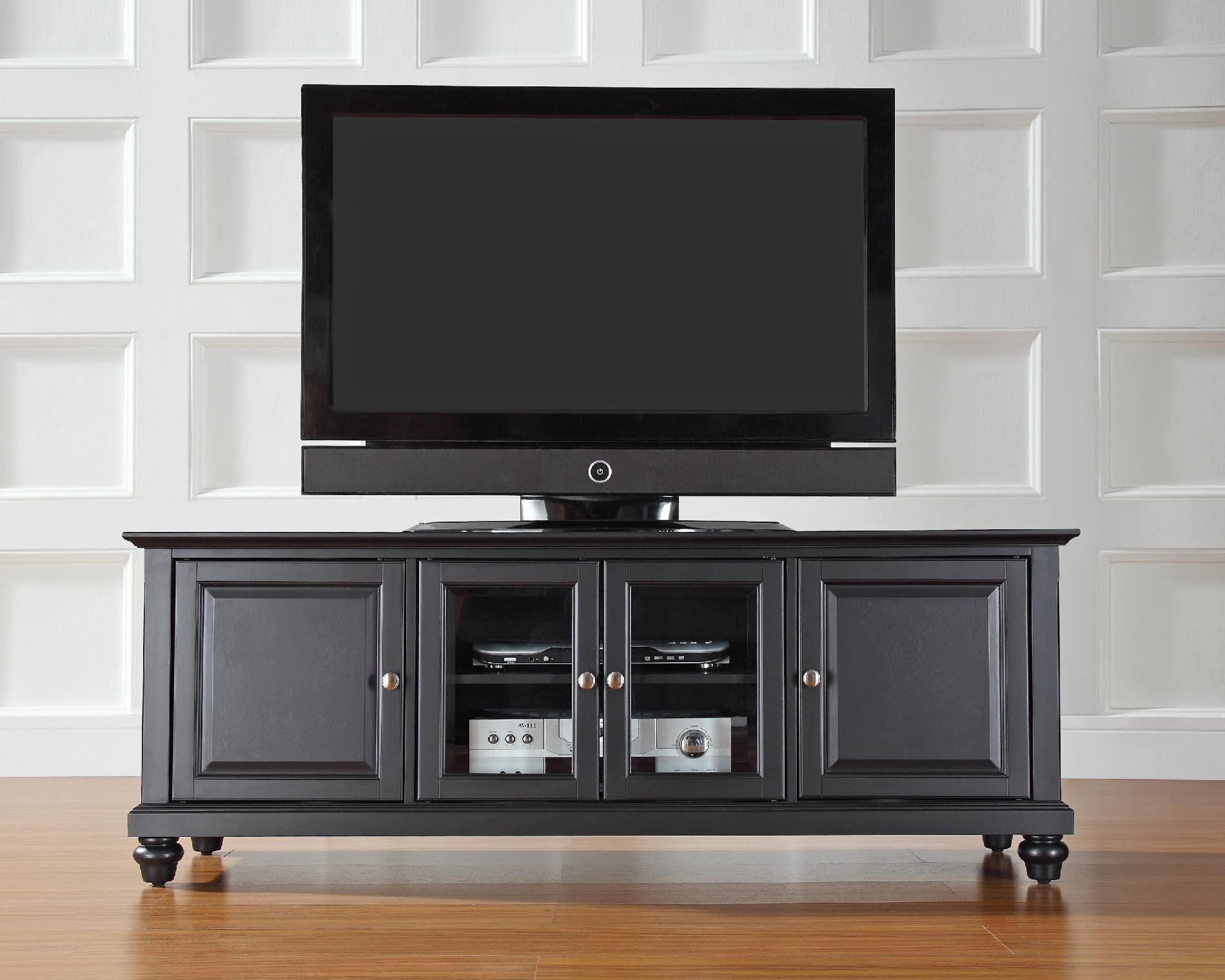 Crosley Furniture Cambridge 60in Low Profile TV Stand in Black