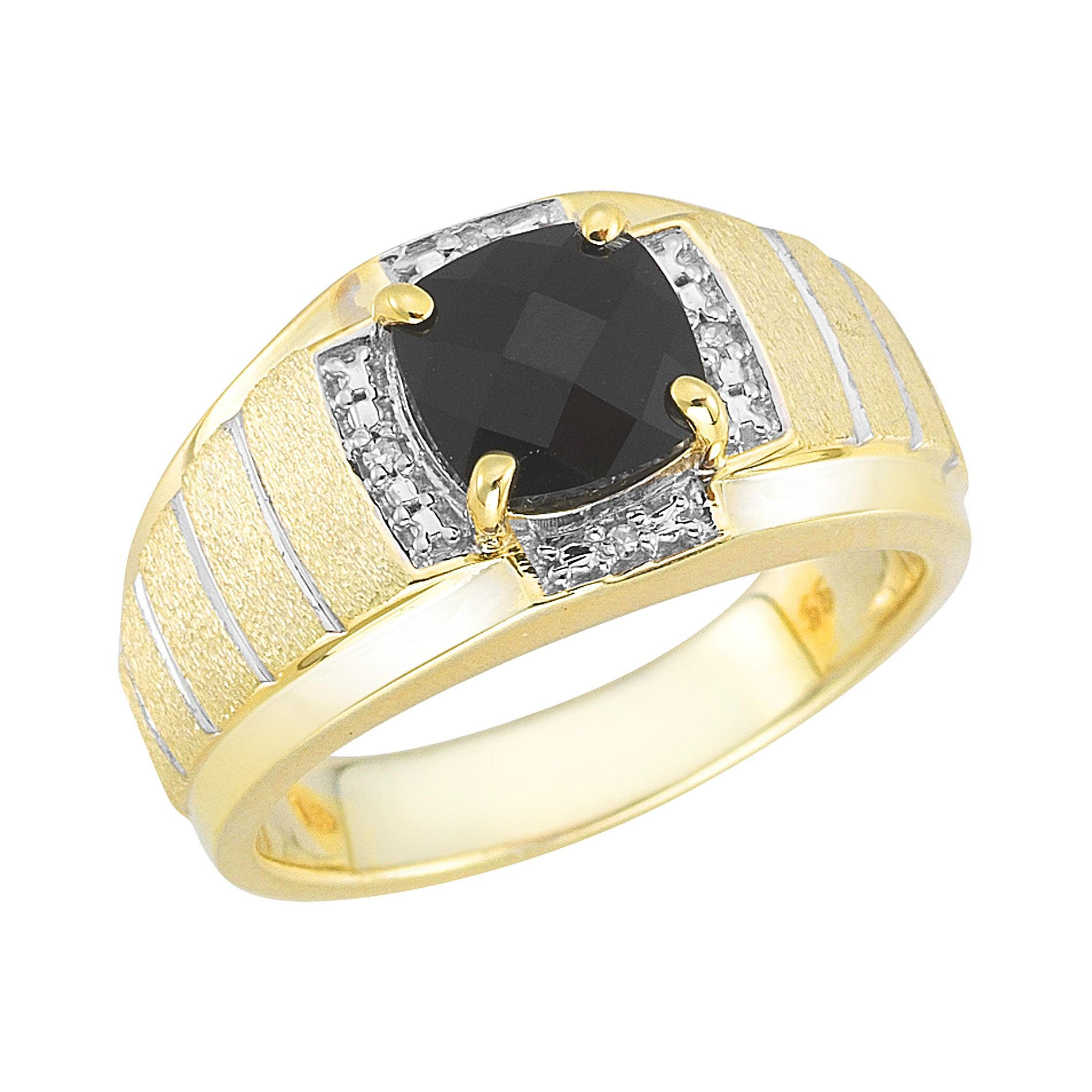 18K Gold Over Sterling Silver Onyx and Diamond Men's Ring
