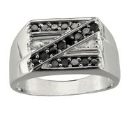 Sterling Silver 1/2 cttw Black & White Diamond Men's Ring at Kmart.com