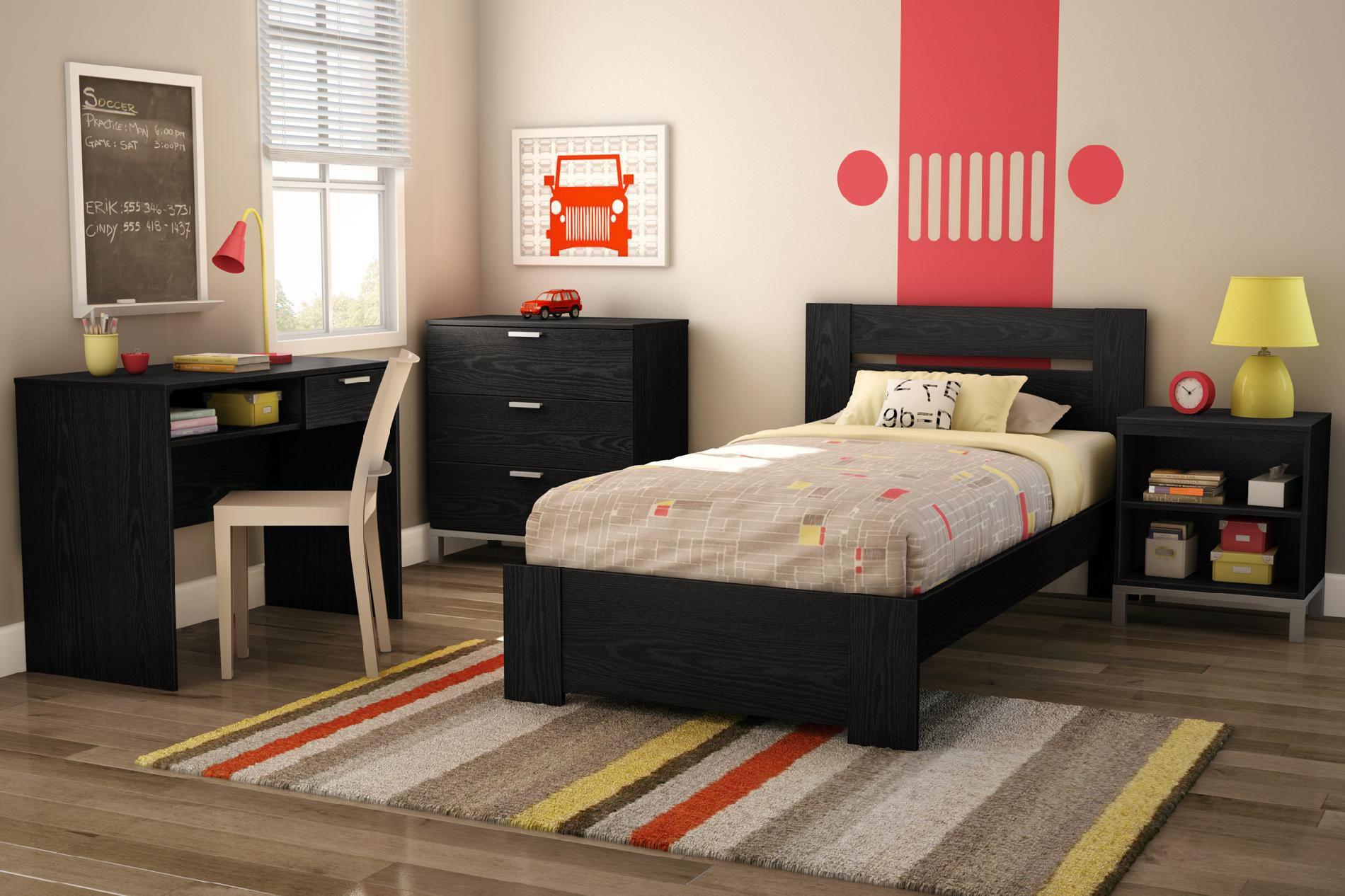 South Shore Flexible Collection Twin Bed Black Oak 1