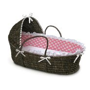 Badger Basket Espresso Moses Basket with Hood and Pink Polka Dot Bedding at Kmart.com