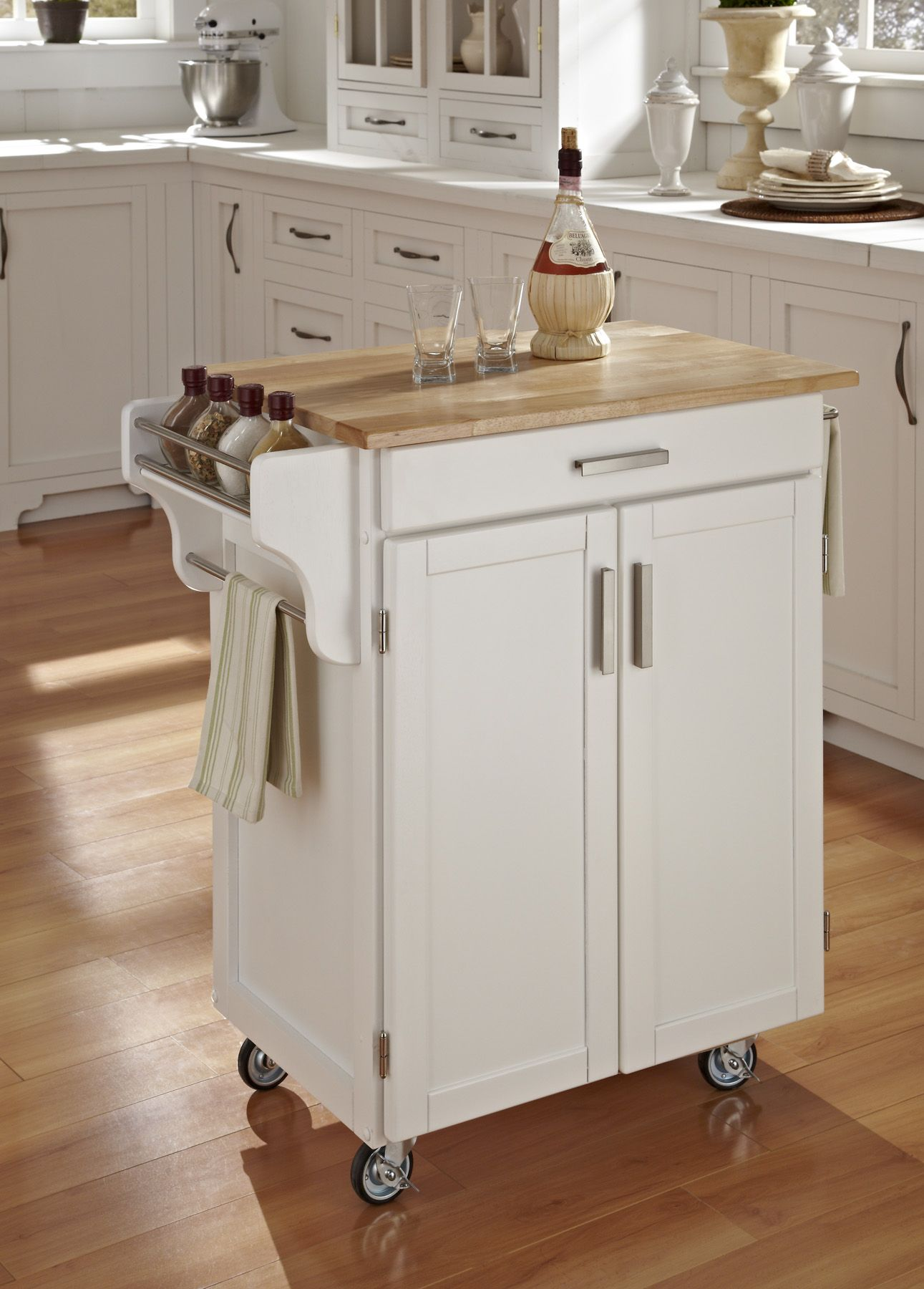 Home Styles Create-A-Cart Cuisine Cart - White Finish with Wood Top