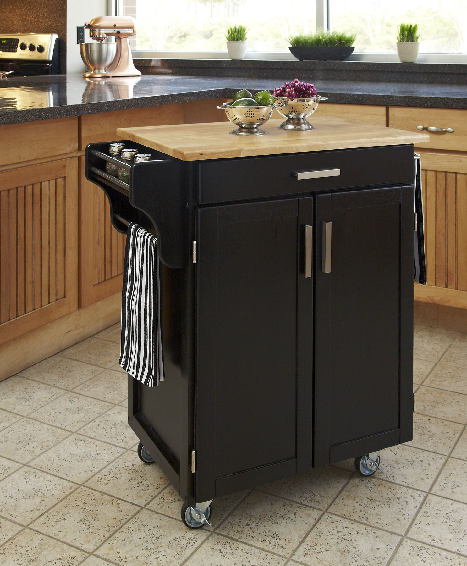 Home Styles Create-A-Cart Cuisine Cart - Black Finish with Wood Top