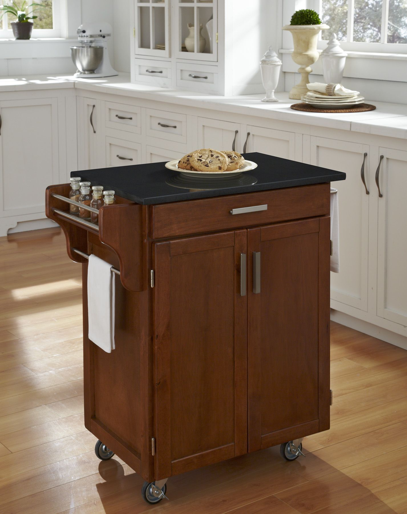 Home Styles Create-A-Cart Cuisine Cart - Cottage Oak with Black Granite Top