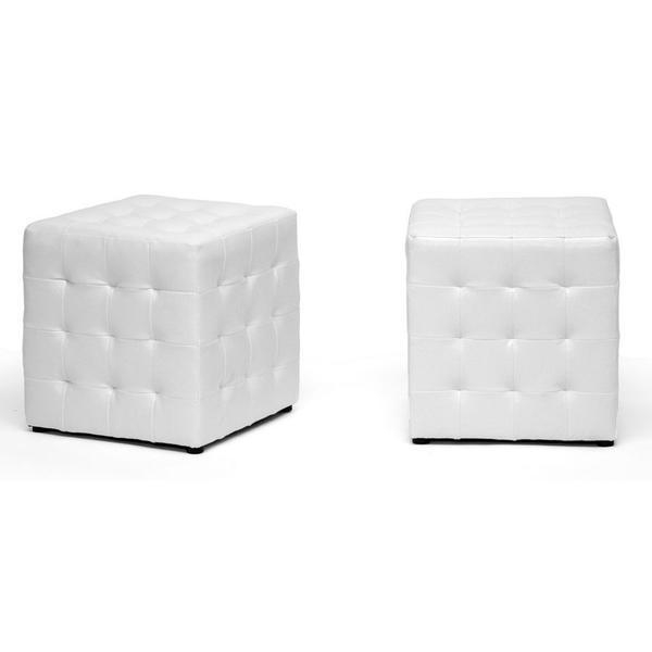 Baxton Studio Siskal Modern Cube Ottoman, White