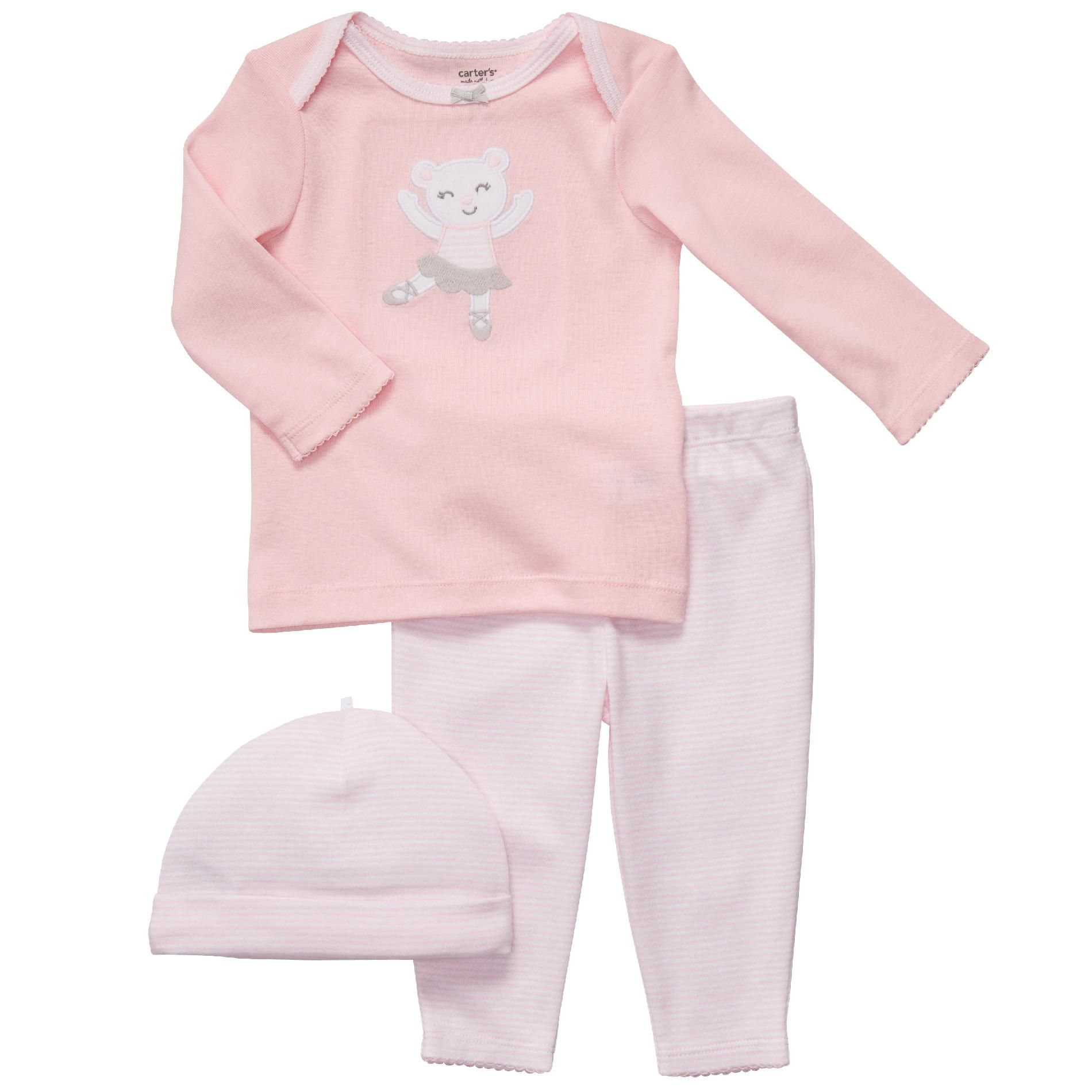 Infant Girls' Set 3pc with Cap Ballet Pink