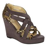 Lady Godiva Women's Chelsi Wedge with Leopard Straps - Grey at mygofer.com