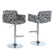 Monarch Specialties Zebra Fabric / Chrome Metal Hydraulic Lift Barstool at Sears.com