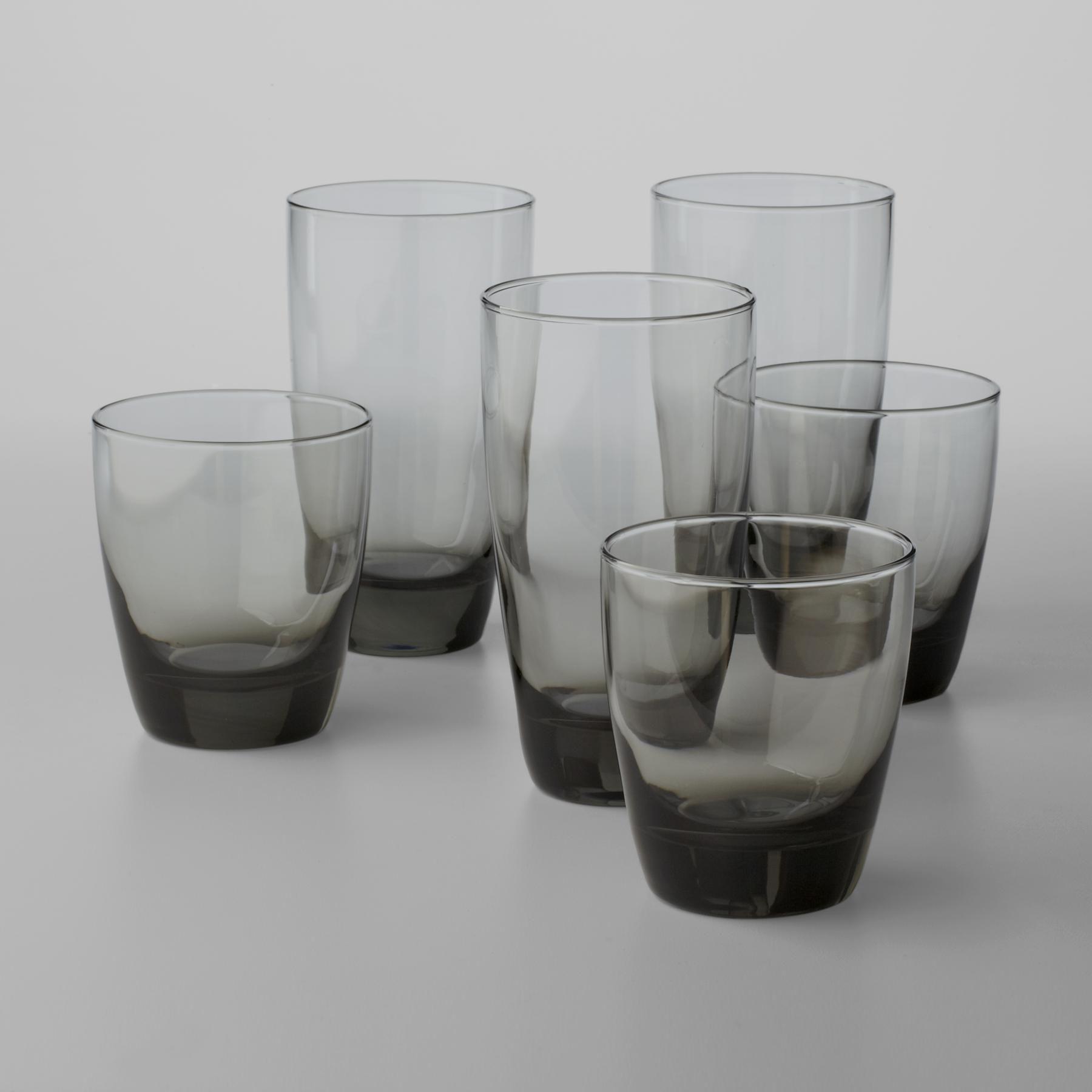 libbey classic smoke piece glassware set -