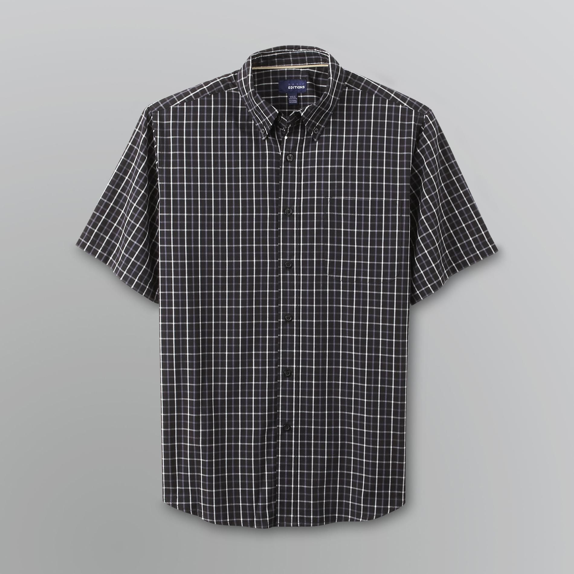 Basic Editions Men's Classic Fit Short Sleeve Plaid Dress Shirt