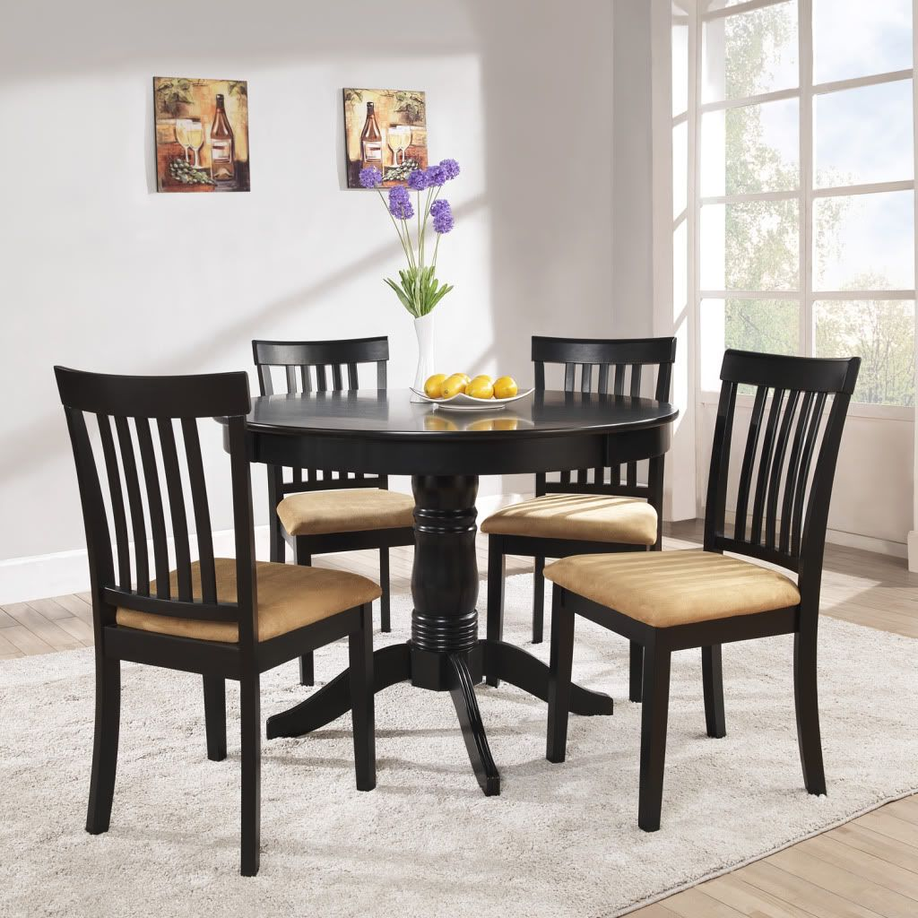 Oxford Creek 5pc Mission Back 42in. Round Black Dining Set