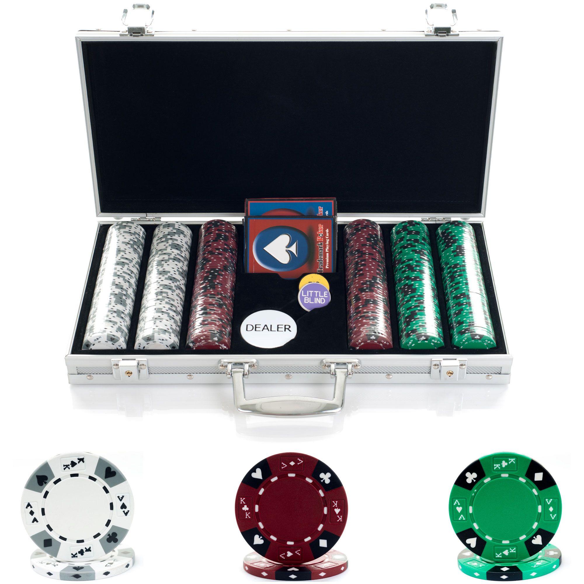 Trademark Poker 300 14g Tri Color Ace/King Suited Chips in Aluminum Case PartNumber: 05202879000P KsnValue: 4972628 MfgPartNumber: 10-1850-3001s